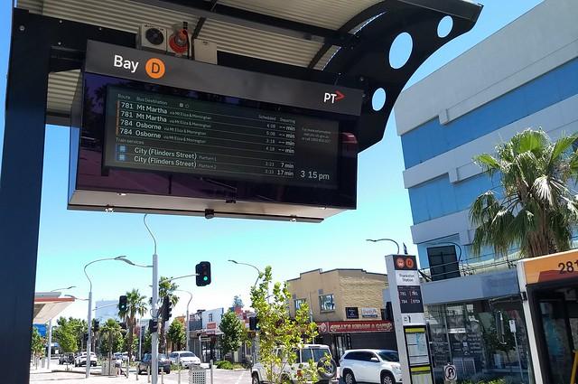 Bus departure information display at Young Street bus terminus, Frankston station