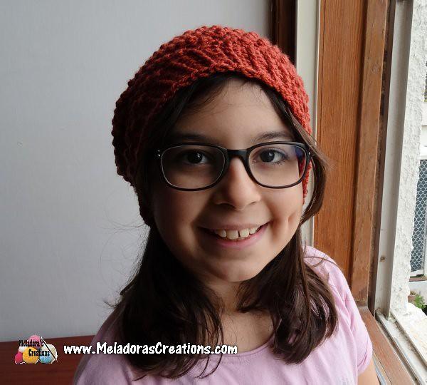 Raspberry Crochet Stitch Slouch Hat Finished 1