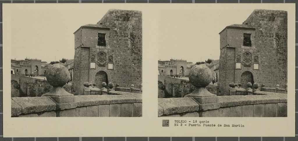 Puerta y Puente de San Martín. Colección de fotografía estereoscópica Rellev © Ajuntament de Girona / Col·lecció Museu del Cinema - Tomàs Mallol