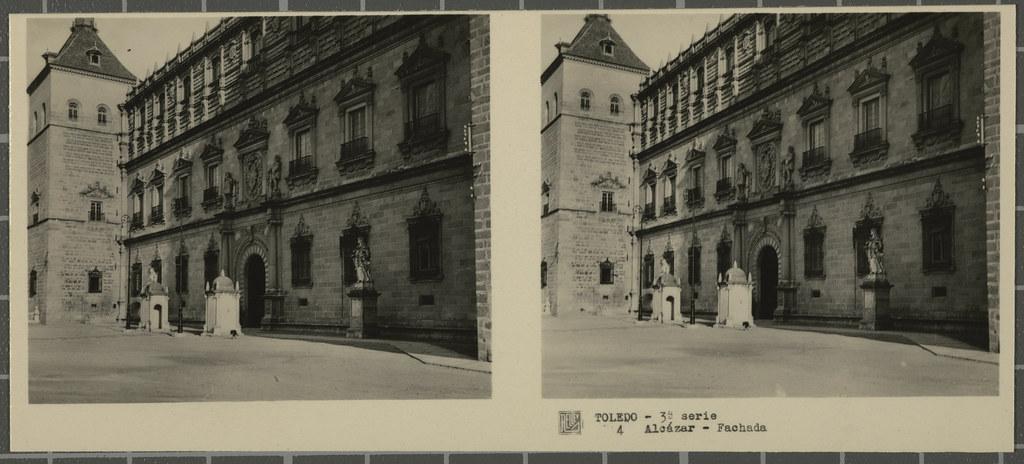 Fachada norte del Alcázar. Colección de fotografía estereoscópica Rellev © Ajuntament de Girona / Col·lecció Museu del Cinema - Tomàs Mallol