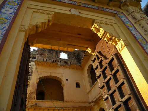 Gate to the palace on the hill above Bundi, India