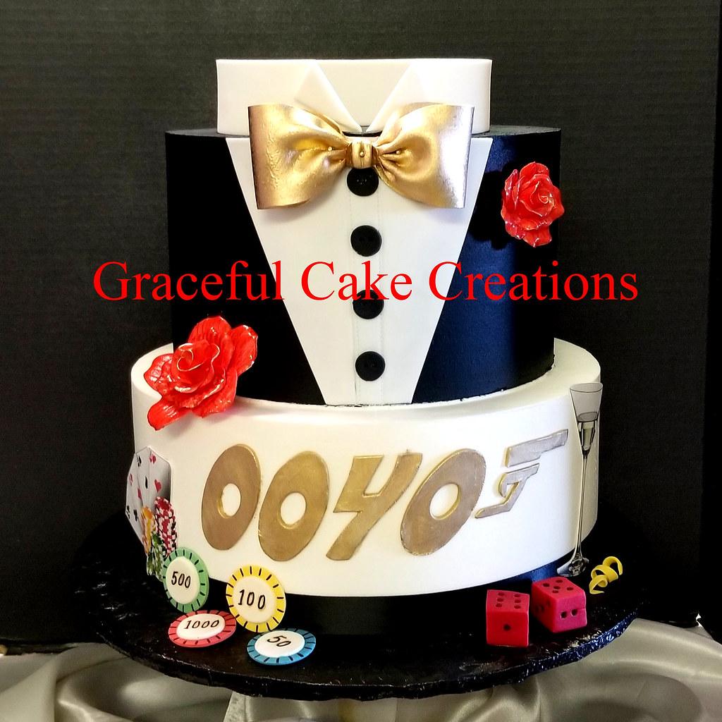 Cool James Bond 007 Themed Birthday Cake Grace Tari Flickr Personalised Birthday Cards Beptaeletsinfo