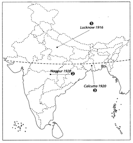 Class 10 History Map Work Chapter 3 Nationalism in India A2