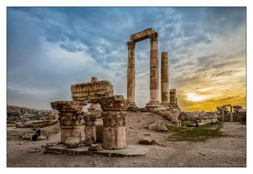templeofhercules temple hercules citadel amman jordan sunset