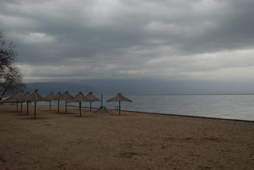 dojran macedonia lake beach winter tourist tourism umbrella macedonian beauty beautiful
