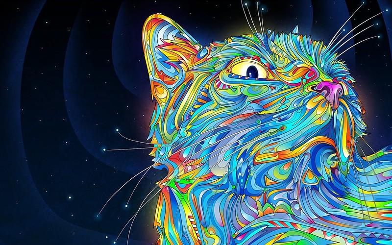 Обои абстракция, вектор, кот, разноцветный, краски картинки на рабочий стол, фото скачать бесплатно