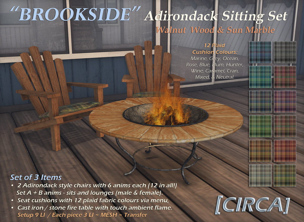 "For Syndicate Sunday | [CIRCA] – ""Brookside"" Adirondack Sitting Sets – Walnut Wood & Sun Marble"