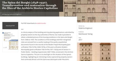 """ROMA ARCHEOLOGIA e RESTAURO ARCHITETTURA: Federica Angelucci, """"The Spina dei Borghi (1848-1930). Transformation and restoration through the files of the Archivio Storico Capitolino."""" (2017), in: Associazione Storia della Città (2019)."""