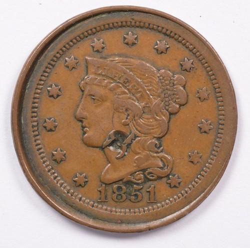 1851 large cent error obverse | by Numismatic Bibliomania Society