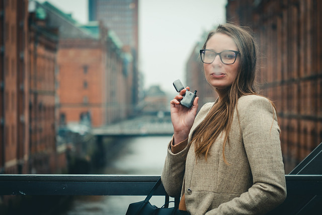 Woman Vaping on Electronic Cigarette