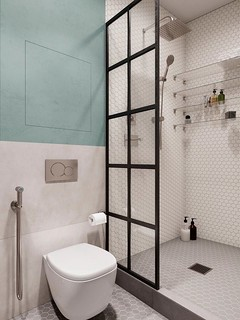 ceramic in-wall flush toilet, plumbing fixture in a tiled bathroom | by PickComfort