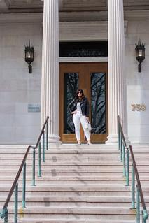 black leather jacket, white jeans, grey tee, suede slingback heels-1.jpg | by LyddieGal