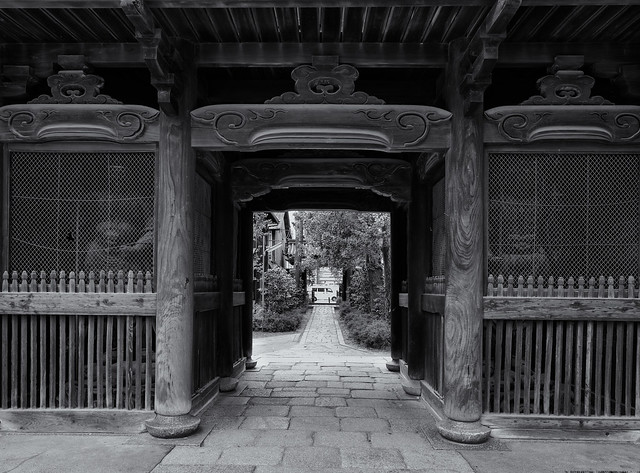 Below the temple gate