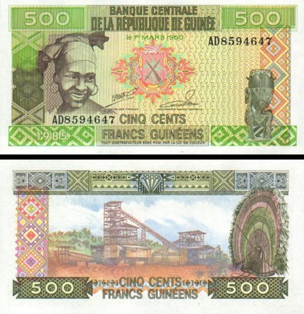 500 Guinejských frankov Guinea 1985, P31a