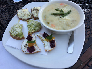 Maria's plate 1-3 with arborio rice and asparagus soup | by WineAndCheeseFriday