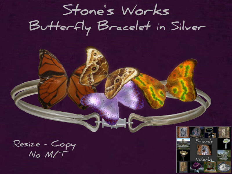 Butterly Bracelet Slv Stone's Works - TeleportHub.com Live!