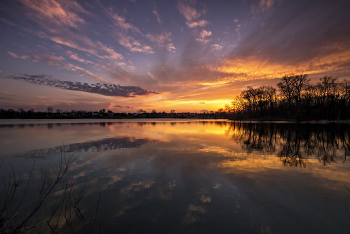 2016 march kevinpovenz westmichigan michigan jenison sunset evening clouds yellow orange blue water pond lake reflection