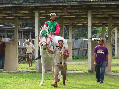 チェンマイ競馬場の馬房から本馬場に向かう騎手