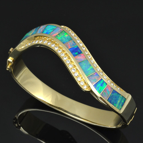 Diamond and Australian Opal Bracelet | by Mark Hileman Jewelry