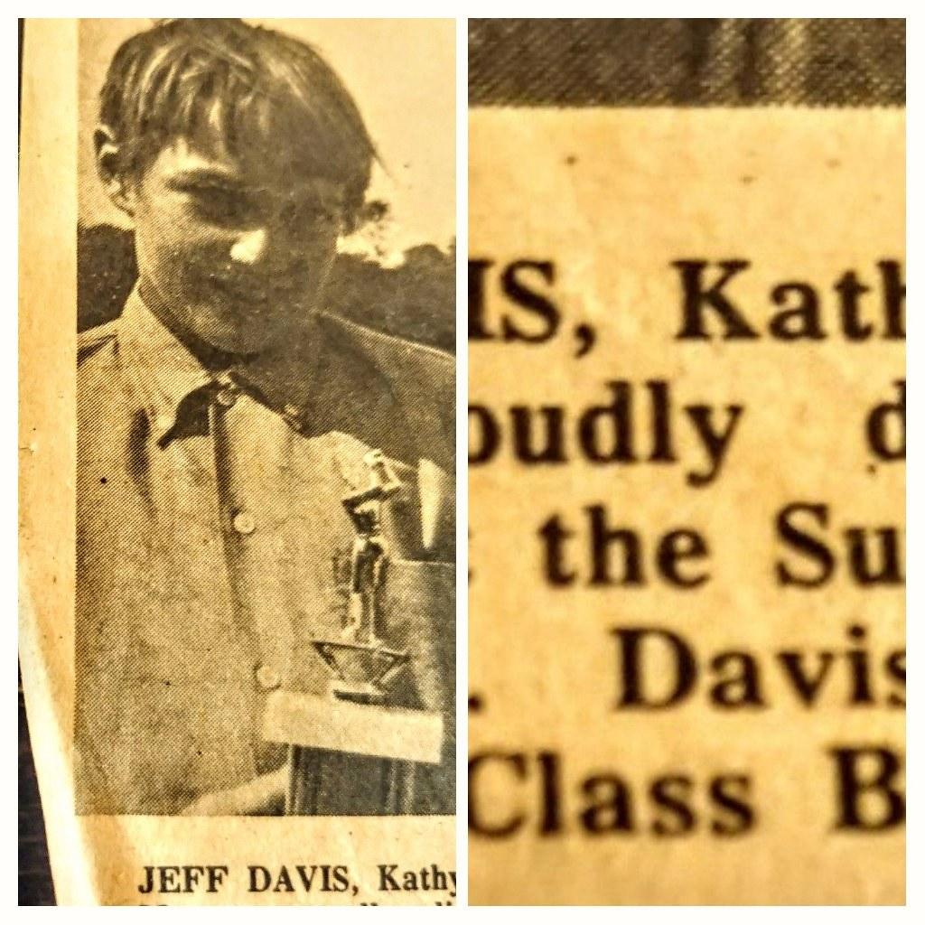 "#jeffdavisshow  Star Teen Golfer   A Gem found 💘 😃 👍 - Jeff Davis  ""Kent Record Courier"" Kent Ohio USA  Displaying my Trophy Low gross honors Class B  💘 👍 😃 ✌ 😆 - Jeff Davis  Early 1970's"