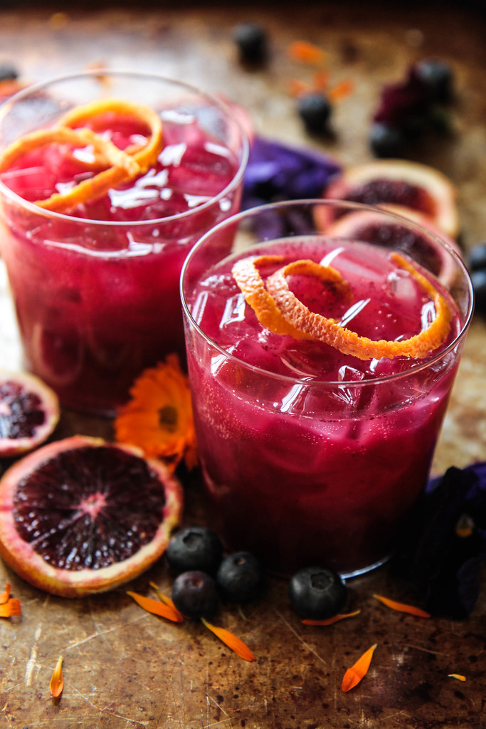 Blueberry Blood Orange Whiskey Sours from HeatherChristo.com