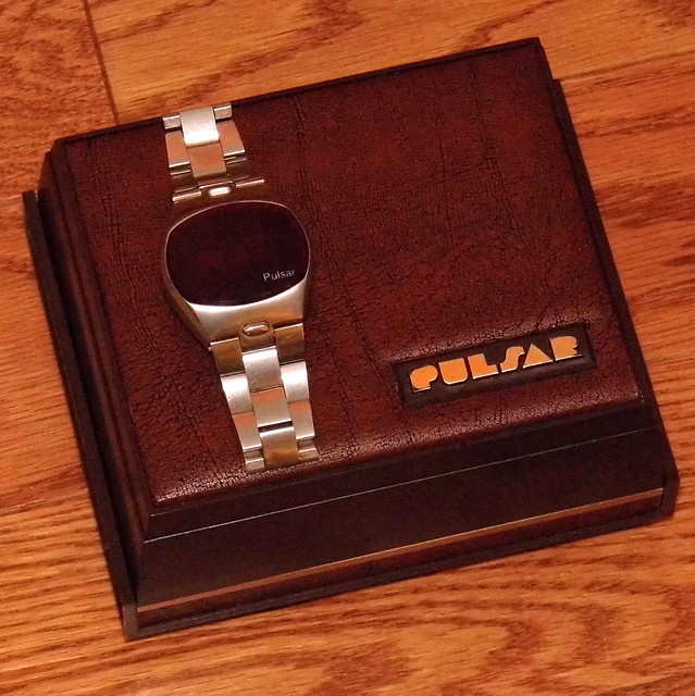 Vintage Pulsar Time-Command Electronic Digital Watch, Model No. 3215-2, Red LED Display, Stainless Steel With Bracelet, Made In USA, Circa 1975