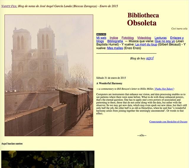 Bibliotheca Obsoleta: Blog de notas de enero de 2015