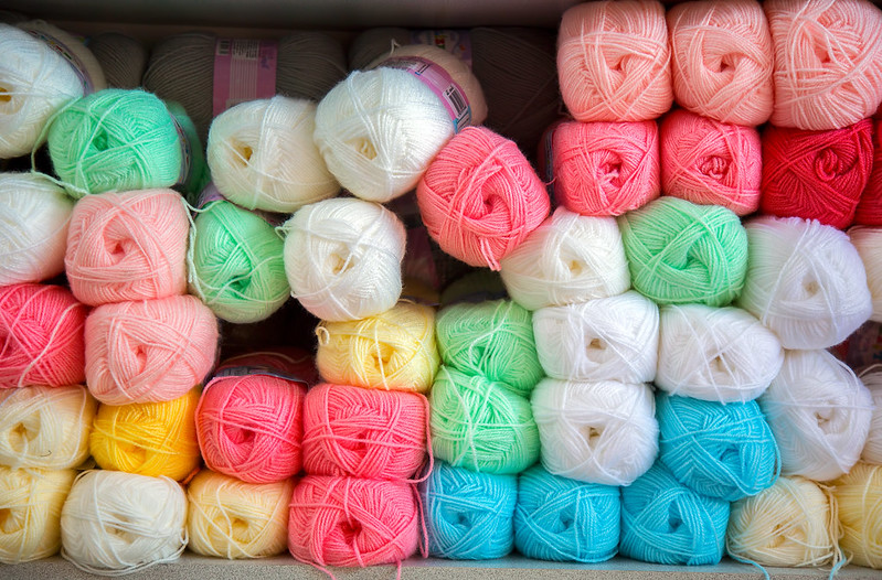 Synthetic yarn on a shelf (c) Adobe