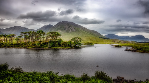 countygalway irland ie derryclarelough lake lough viewpoint pinesisland water trees mountains clouds sky landscape nikon d850