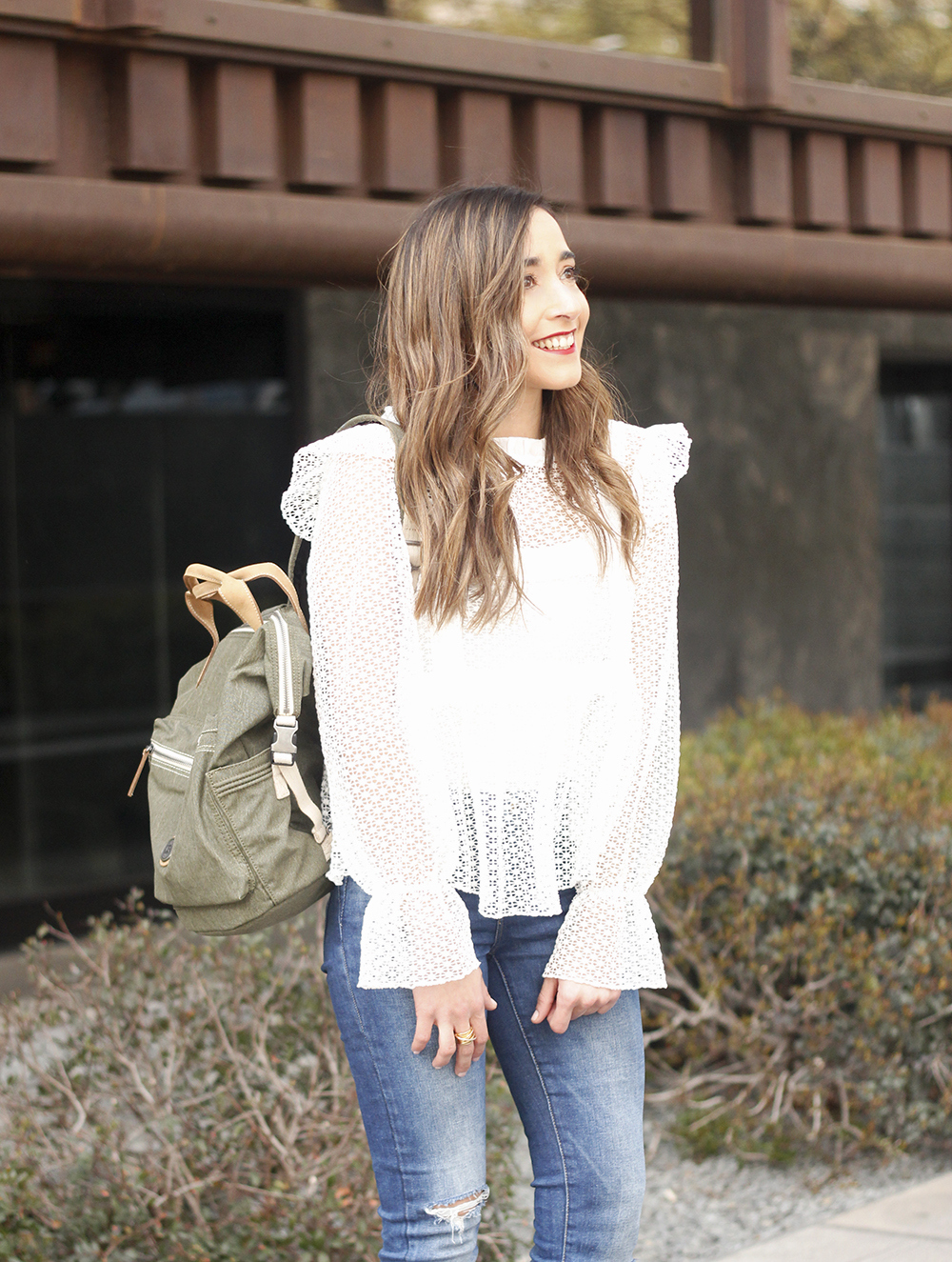kipling backpack transformation collection khaki white lace blouse casual street style casual outfit 20199