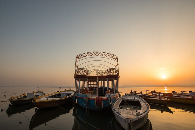 Boats on the River, Sunrise over the Ganges
