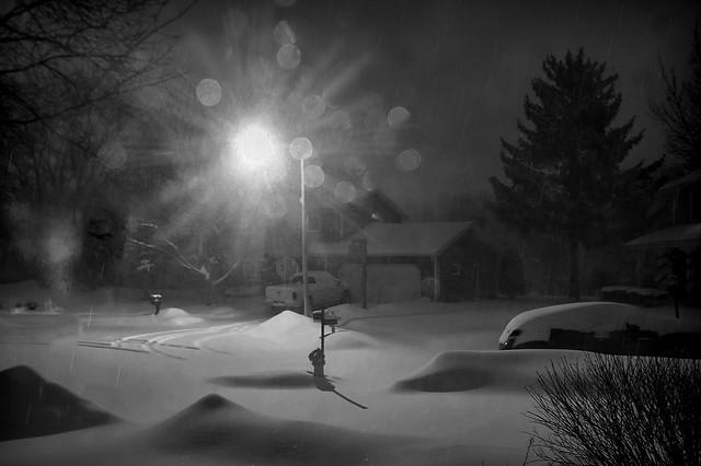 Winter night snowfall in Wisconsin