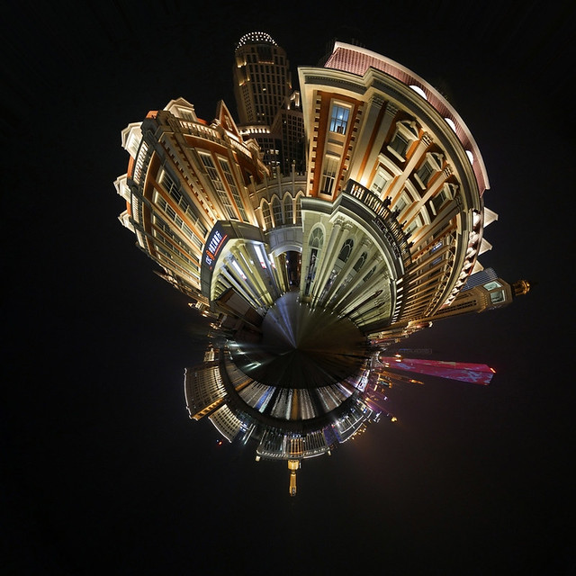 Mini Planet: Tianjin by night (360 degrees)