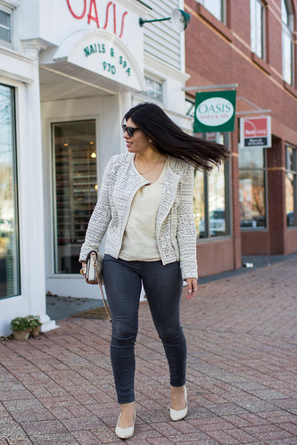 printed jacket, cream blouse, grey jeans, studded bag-6.jpg | by LyddieGal