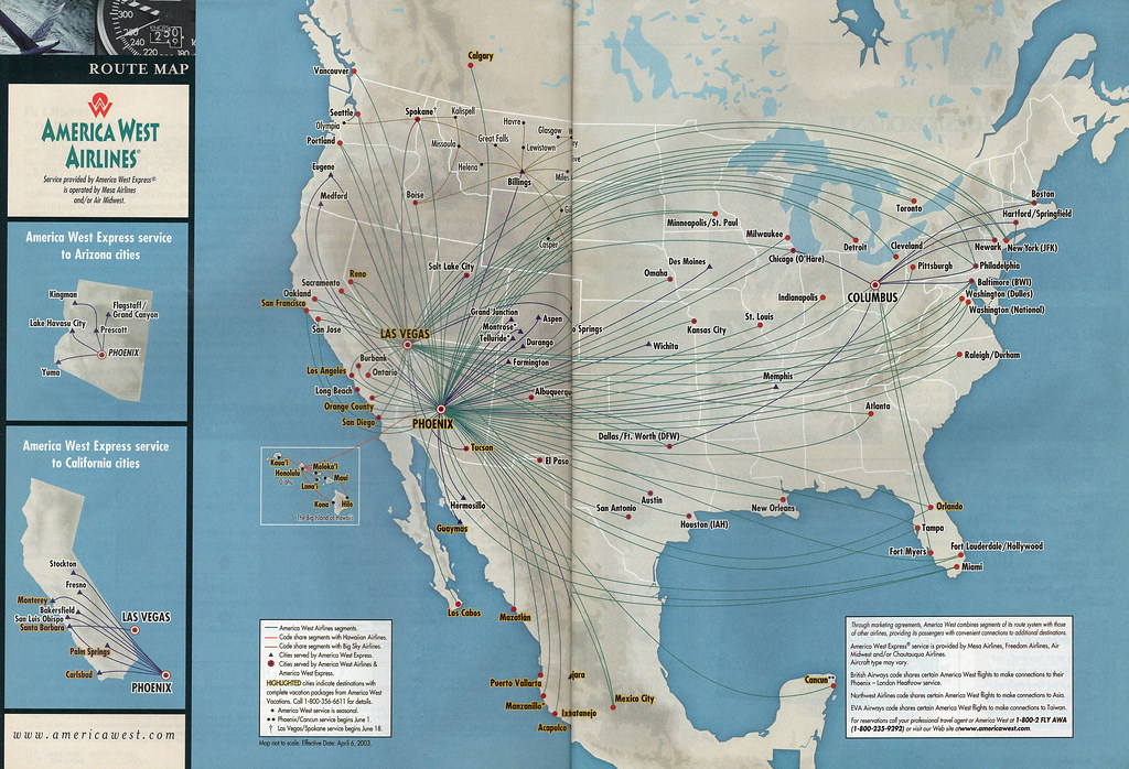 Airline Maps — America West route map, 2003 The America West...
