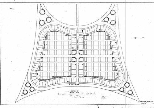 MUSKINGUM COUNTY - WPA CEMETERY PLAT MAP - ZANESVILLE MEMORIAL PARK SECTION B | by ljellis_2000