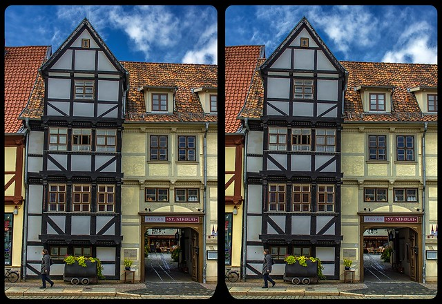 Timbering of Quedlinburg 3-D / CrossView / Stereoscopy