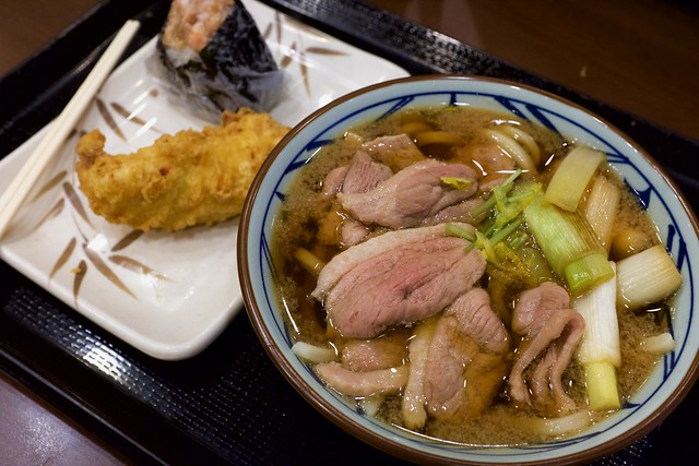 Japanese udon noodles with roasted duck and leek / 鴨ねぎうどん / 丸亀製麺 (?)