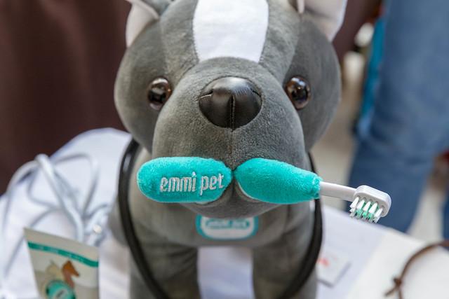 Kuscheltier mit einer Emmi Pet Ultraschallzahnbürste zur Zahnreinigung von Haustieren, bei der Hundemesse 2019 in Köln