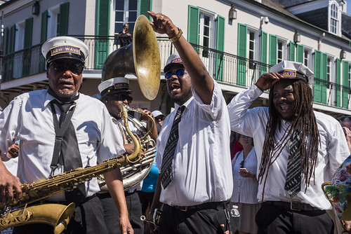 New Wave Brass Band with the opening parade to French Quarter Fest 2019 on April 11, 2019. Photo by Ryan Hodgson-Rigsbee RHRphoto.com