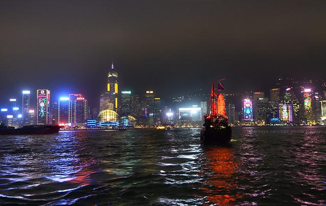 Hong Kong skyscrapers at night, from Kowloon
