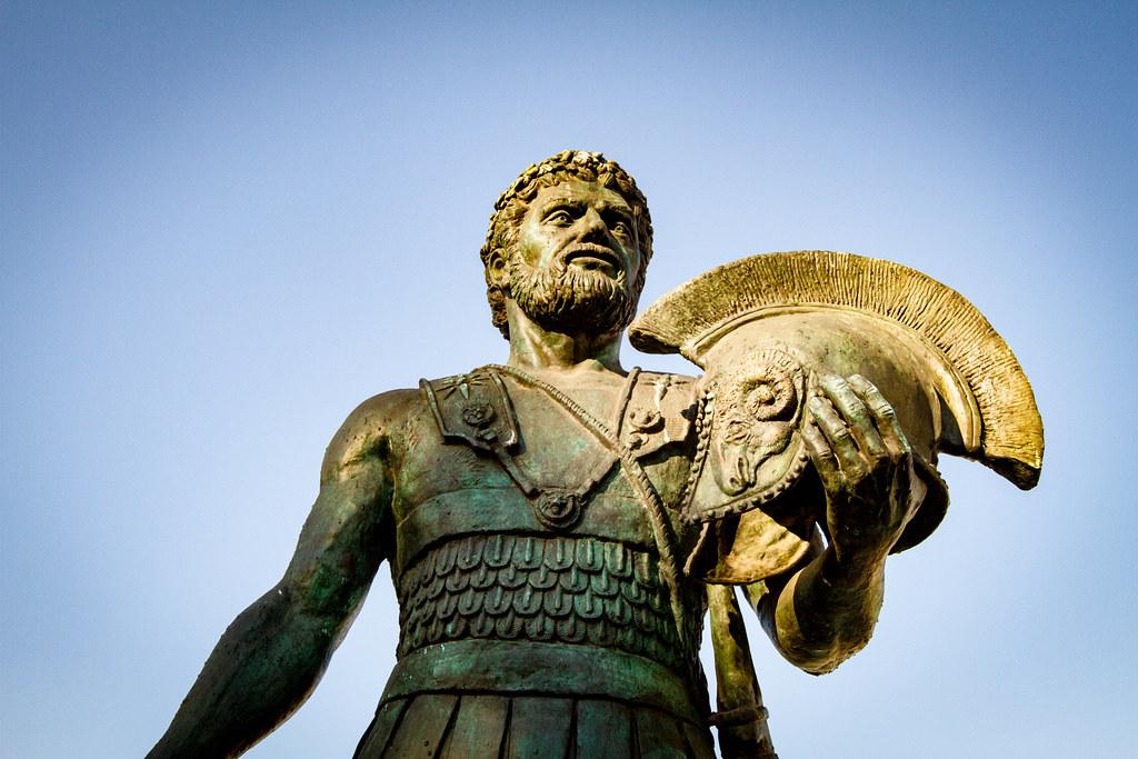 Statue of King Alexander I Philhellene (498-454 BC) - Bridge of Civilizations of Macedonia - Skopje, Macedonia 2017