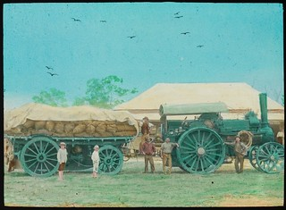 Men and children standing next to a tractor and large trailer with full sacks, Miriam Vale, Queensland, ca. 1910