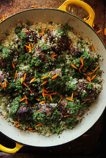 Keto Meatballs with Cauliflower Rice and Chimichurri Sauce from HeatherChristo.com | by Heather Christo