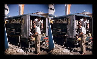Cinerama camera crew unloading gear - GM Powerama exhibition - Chicago, Illinois - September 7, 1955 | by ah_pook