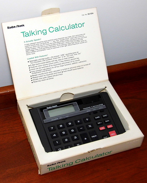Vintage Radio Shack Talking Calculator In Original Box, Cat. No. 65-554, Made In Taiwan, Circa 1992