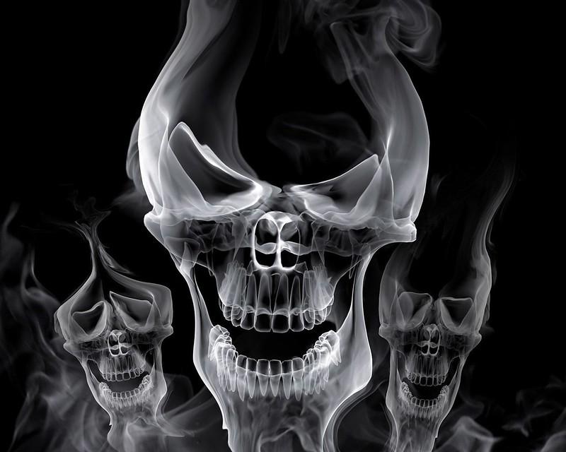 Обои череп, дым, форма, серый картинки на рабочий стол, фото скачать бесплатно
