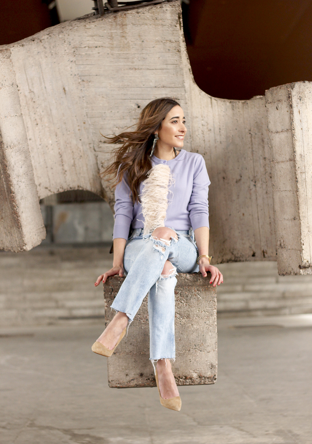 lavender sweater ripped jeans gucci bag nude heels casual street style casual outfit 201913