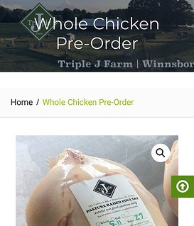 Our whole chickens are out of stock, but you can pre-order your next bird today. Use the link in our bio, and click the shop online button. Go to our poultry category and find the chicken pre-order. These birds will be available May 11. #pasturedpoultry # | by triplejfarmsc