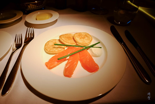 Balik salmon with blinis and sour cream | by A. Wee